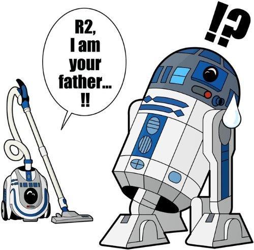 T-Shirt Noir Star Wars parodique R2-D2 : R2. Je suis Ton père ! (en VO remasterisée !) (Parodie Star Wars)