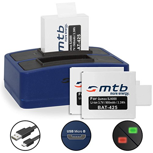 3 Akkus + Dual-Ladegerät (USB) für Qumox SJ5000(+), SJ5000X, SJ4000(+) / SJCam M10(+), X1000... - inkl. Micro-USB-Kabel - Wifi Sjcam 4000