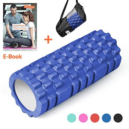 Joyletics® Faszienrolle »groove« ideal für die Selbstmassage des Bindegewebes | Faszientraining mit dem Foam Roller 3D mit Noppen und Rillen aus hochwertigem EVA und PVC Material für eine tiefgreifende Massage | Maße 14 x 33 cm in dunkelblau