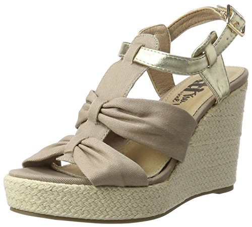 XTI - Taupe Canvas Combined Ladies Sandals ., Scarpe con plateau Donna Marrone e (Taupe)