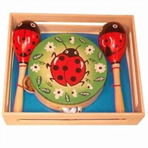 Musik-Set-Käfer | Maikäfermotiv | Tamburin und Rassel | Musikinstrument für die Frühförderung | Kinder-Musikinstrument | Motorikspielzeug | Musikinstrumente für die Kleinsten | von Holzspielzeug Peitz