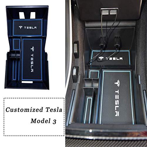 Topfit Customized Tesla Model 3 Mittelkonsole Organizer Tray Aufbewahrungsbox Münz- und Sonnenbrillenhalter Schwarz OEM