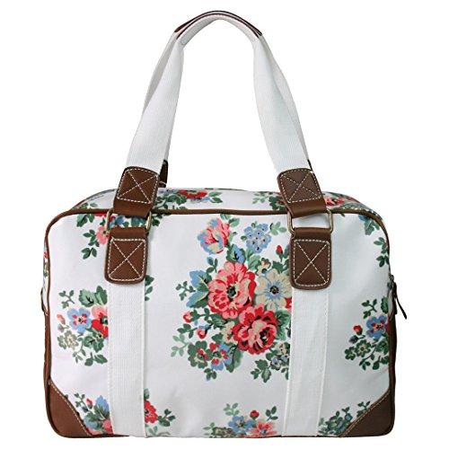 Miss Lulu Damen Größ Blumen Wachstuch Handtasche über Nacht Schultertasche Tasche Handbag Shoulder Bag Blumen Weiss