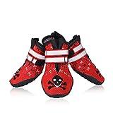 Petacc 4Pcs Hundeschuhe Rutschfeste Schuhe für Hunde Pfotenschutz Hund Rot (6#)
