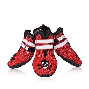 Petacc 4Pcs Chaussure pour Chien Antidérapant Bottes pour Chien Respirantes Chausson Chien Rouge (Rouge-7)