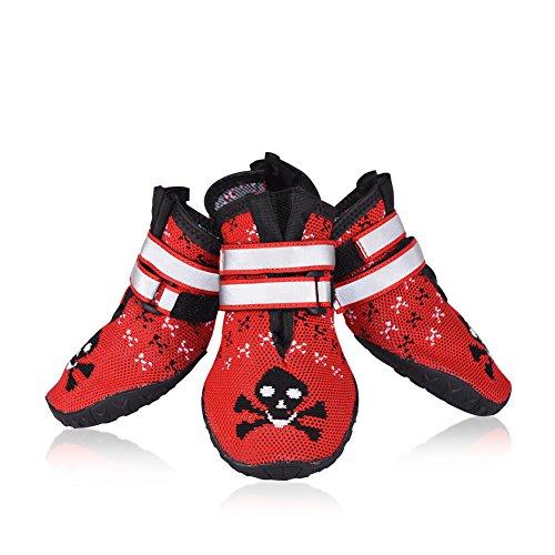 Petacc 4Pcs Hundeschuhe Rutschfeste Schuhe für Hunde Pfotenschutz Hund Rot (8#)