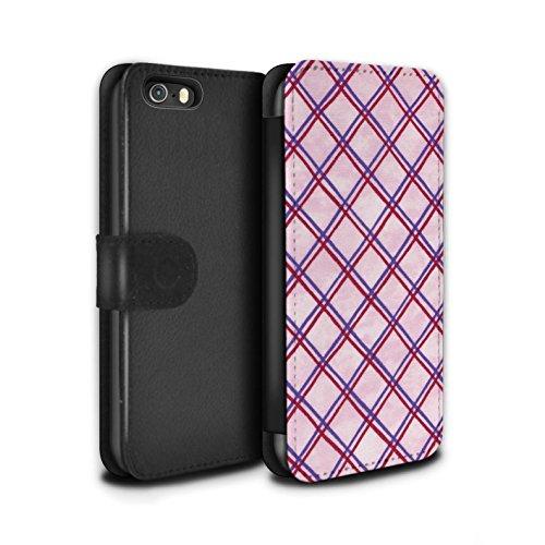 Stuff4 Coque/Etui/Housse Cuir PU Case/Cover pour Apple iPhone SE / Pack (15 pcs) Design / Motif Entrecroisé Collection Violet/Rouge