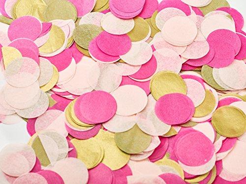 Papier Konfetti für Hochzeiten oder Konfetti-Luftballons | Tisch-Konfetti aus Seidenpapier in 3 Farben rosa, pink, gold, weiß