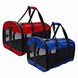 Stalwart Collapsible Pet Carrier Mesh Cat Dog Carrying Handle Red or Blue