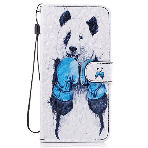 Etui Coque Apple iPhone 6s Plus(5.5 Zoll ) , Ecoway Motif Peint Etui Portefeuille Flip PU Cuir Flip Cover Emplacement de Carte de Portefeuille Support Slots de cartes Case Cover Housse Etui Coque de Protection Pour Apple iPhone 6s Plus(5.5 Zoll ) - Panda