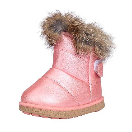 Chaussures souples,Covermason Coton bébé hiver garçons filles enfant cuir chaussures Martin Boot chaussures chaudes (21, Blanc) Rose