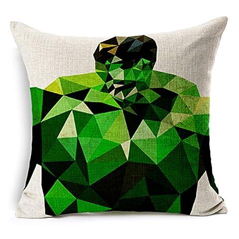SilkCrane Housse de Coussin, Geometric Hulk Printed Cotton Linen Decorative Throw Pillow Cover, 17.7