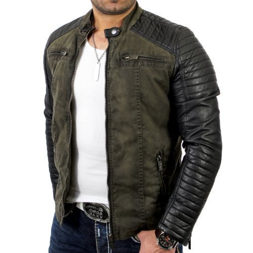 Redbridge jacket Biker Vintage Look R-41451W for men, grösse:l;Farbe:Green