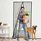 Fly Screen Door Curtain, BearMoo Reinforced Insect Door Screen for keeping out flies, with Heavy Duty Mesh Curtain and Full Frame Velcro, Easy Installation, No Gap, Fits Door Size up to 110x220CM