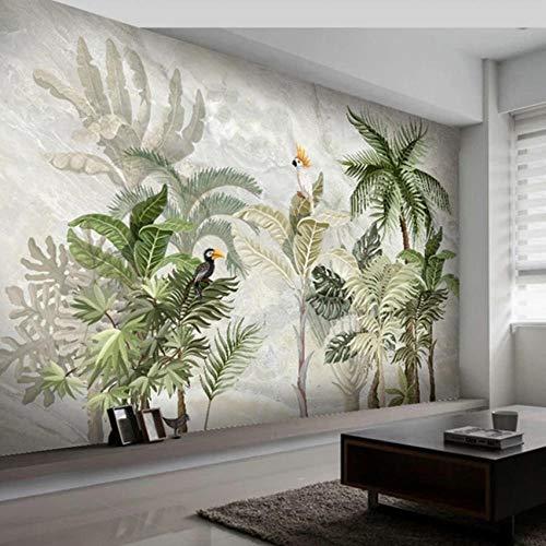 QVZXN Tapete Für Wände 3D Europäischen Stil Marmor Muster Handgemalte Pflanze Blatt Wohnzimmer Hintergrund Wandmalerei-400X280CM -