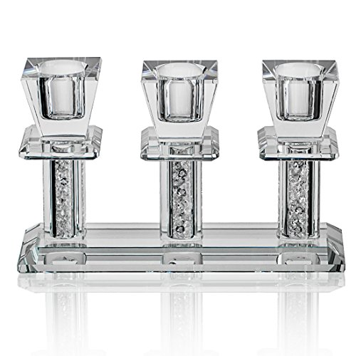 Tabelle Kandelaber (H&D klar Kristall Konushalter 3 Arme Kerzenständer, Abendessen Tabelle Dekor)