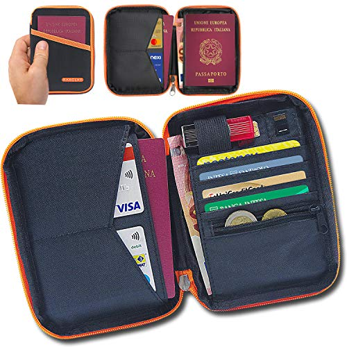 Porte Documents de Voyage RFID Porte Passeport Compacte Portefeuille 2ème Génération Nouveau - 13 Compartiments - Protection contre...