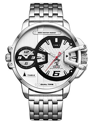Alienwork Herren-Armbanduhr Quarz Silber mit Edelstahl Metallarmband Kalender Datum Weiss XXL Oversized