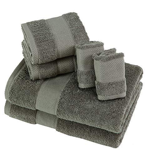 SUMC Handtücher aus Baumwolle-Set mit 2 Badetuch 2 Handtücher und 2 Waschlappen Superweiche Handtücher von 6 Stück, Premium Handtuchset Schwergewicht & saugfähig für Hotel & Faminly,Grau -