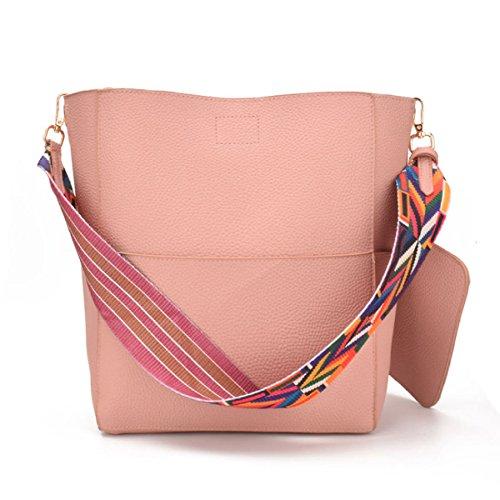 Frauen Weiche Leder Geldbörse Quaste Mini Eimer Tasche Kreuz Körper Handtasche Mit Verstellbaren Schultergurt Pink