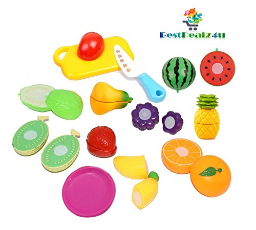 BestDealz4u Realistic Sliceable 15 Pcs Fruits Cutting Play Toy Set, Can Be Cut in 2 Parts