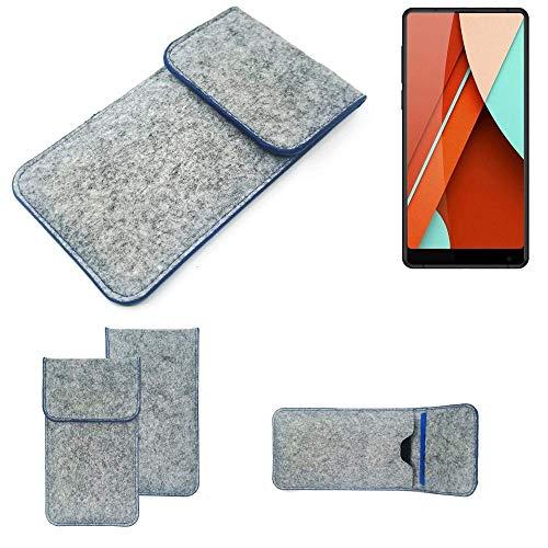 K-S-Trade® Filz Schutz Hülle Für Bluboo D5 Pro Schutzhülle Filztasche Pouch Tasche Case Sleeve Handyhülle Filzhülle Hellgrau, Blauer Rand