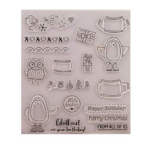 Ranuw Transparent Stempel (Fröhliche Weihnachten) DIY Handwerk Silikon Clear Stamps Für Album Foto Sammelalbum Präge Scrapbooking -