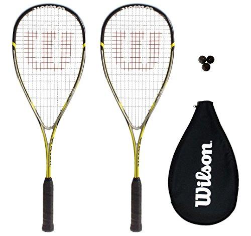 2 x Wilson Ripper 133 BLX Squash Schläger + Abdeckung + 3 Squash Bälle