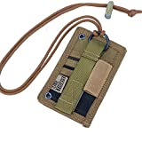 OneTigris Taktische Ausweishalter Abzeichenhalter Identifikation-Kartenhalter mit Umhängeband (Braun-A)