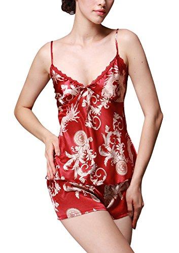 Dolamen Femme Pyjamas Satin, Chemises de nuit Femmes, Femmes Ensemble de Pyjama, Impression rétro Lingerie Spaghetti Strap Chemise Babydoll Dentelle chemise de nuit Court Rouge