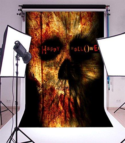 YongFoto 1,5x2,2m Vinyl Foto Hintergrund Fröhliches Halloween Gothic Spooky Scary Schädel Blut Kostüm Fotografie Hintergrund für Fotoshooting Portraitfotos Party Kinder Hochzeit Fotostudio Requisiten