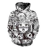Unisex lustig Anime Ahegao 3D Drucken Hoodies Jogger Hipster Sexy Cartoon-T-Shirt und Sweatshirt eingestellt