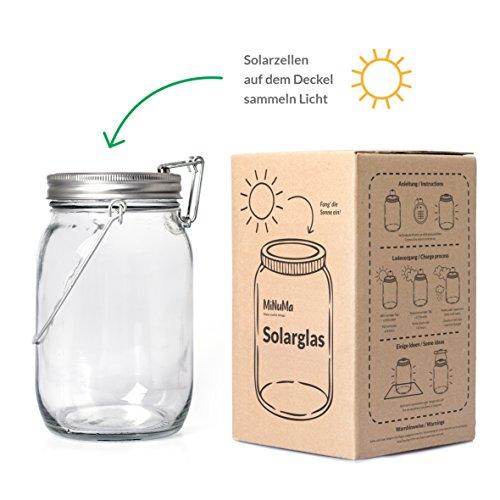 Minuma® LED Solarlampe Laterne im stilvollen Einmachglas | mit praktischem An/Aus-Mechanismus | perfekte Gartenbeleuchtung zum Aufhängen und lange Beleuchtungszeit | 1 l Fassungsvermögen 18 x 10,5 cm (Glas-tisch-lampe Alle)