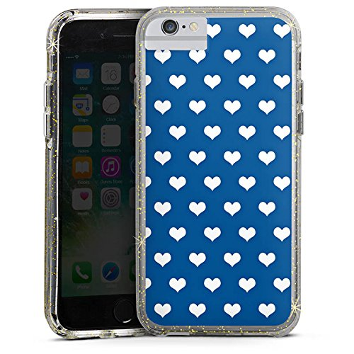 Apple iPhone 6s Plus Bumper Hülle Bumper Case Glitzer Hülle Herzchen Polka Pattern Bumper Case Glitzer gold