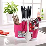 Holder Plastic for Kitchen Countertop/Dining Table Storage Home Use Kitchen Tool Knife Spoon Chopsticks Fork Multifunction Storage Box Rack Cutlery by ShinfeLife (Pink)