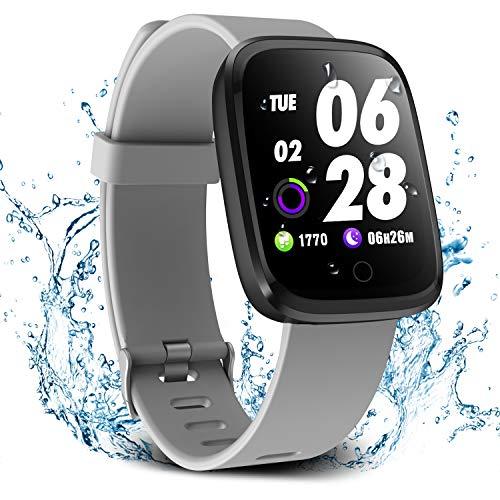 Verpro Bluetooth Smartwatch Wasserdicht Fitness Uhr, Fitness Tracker Sport Uhr mit Schrittzähler und Pulsmesser, Intelligente Armbanduhr für Herren Damen, Grau