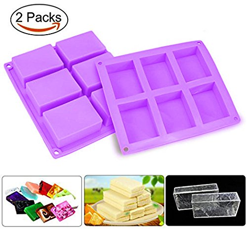Soap Mold, Joyoldelf 2Pcs 6 Cavity Rectangle Silicone Mould for Candy Chocolate Cake & Make Your Own Homemade Bar Soap (Purple)