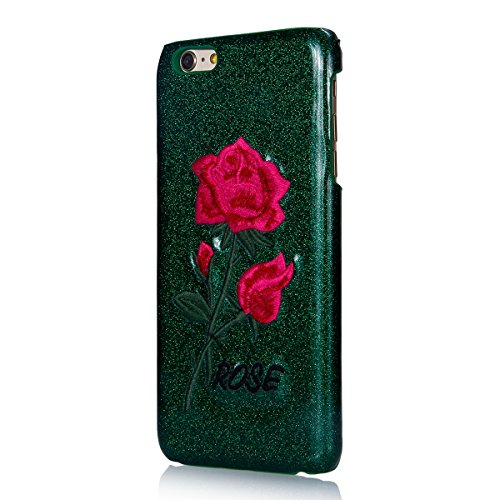 Custodia iPhone 6 Plus, iPhone 6S Plus Cover Glitter, SainCat Custodia in PC Protettiva Hard Cover per iPhone 6/6S Plus 5.5, Bling Glitter 3D Design Hard Case Shock-Absorption Ultra Slim Sottile Custo Sfondo Verde Rose Rosse