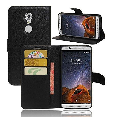 ECENCE Handy-Schutzhülle - Handytasche für ZTE Axon 7 Mini Schwarz - Smarthone Case Cover stoßfest mit Kartenfach - Handycase mit Stand-Funktion 13010309