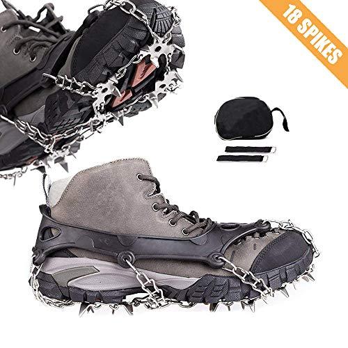 Cycorld Steigeisen für Bergschuhe mit 18 Edelstahlspikes, Schneeketten für Schuhe, Schnee Spikes Schuhspikes, Wanderschuhe Kette, EIS Schuh Chainsen (Schwarz, L (EUR Men 39.5-45, Women 38.5-43))