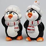 2 Set (= 2 Stück) Keramik - Pinguine mit BEFLOCKTER Mütze von Hand mit Blauen Augen Bemalt und Schön gestaltet - Wunderschöne Keramik - für Herbst Advent und Weihnachten