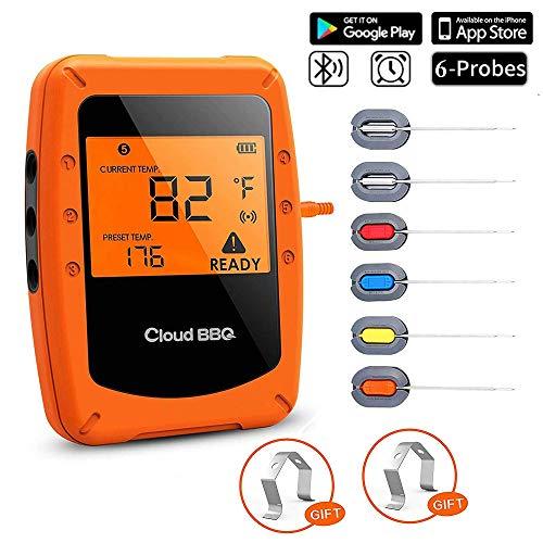 UBaymax Digitales Grillthermometer Bluetooth, Funk Wireless BBQ Steak Thermometer mit 6 Sonden, Bratenthermometer, Fleischthermometer, Unterstützt IOS, Android für Küche, Grill, Backen -