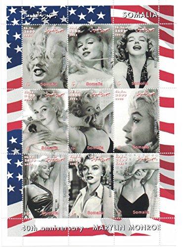 Briefmarken für Sammler-perforfated Stempel Blatt mit Marilyn Monroe/schwarz und weiß Bild der Schauspielerin/Somalia