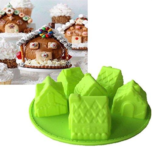 GAOMOJU& 1 Stück Kuchenformen Haus Weihnachten 3D Für den täglichen Einsatz Brot Kuchen Für Kochutensilien Für Brot Für Kuchen Silikon (Weihnachten Klebrig Zubehör)