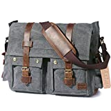 "Lifewit 15.6''-17.3"" Laptop Messenger Shoulder Bag Men?s Vintage Military Leather Canvas Briefcase Cross-body Bags (17.3'' Grey)"