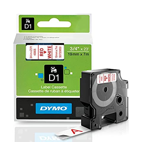 D1 Standard Tape Cartridge for Dymo Label Makers, 3/4in x 23ft, Red on White