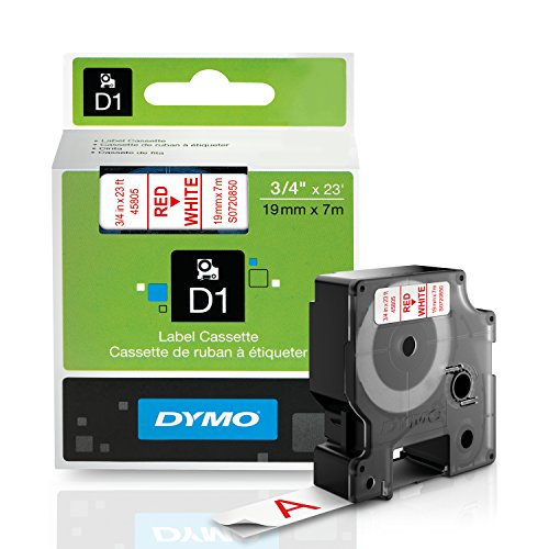DYMO Standard D1 Beschriftungsband, 1 Patrone 3/4'' W x 23' L Red Print on White Tape