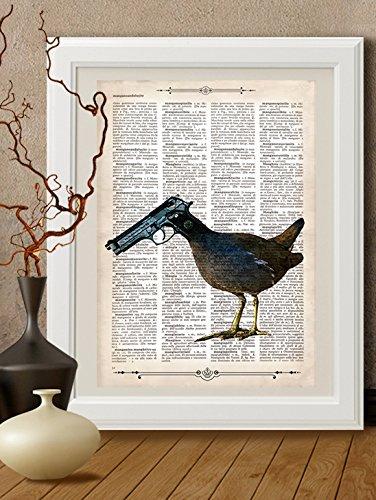 Kunstdrucke, vogel,metaphysisch, Herz auf Antike Buchseite,#FEN11