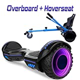 COLORWAY Overboard Hover Scooter Board Gyropode Bluetooth SUV 6.5 Pouces, Scooter Electrique Moteur 700W Tout-Terrain, Self-Balance Board avec Roues LED Flash + Hoverkart (Noir LED)