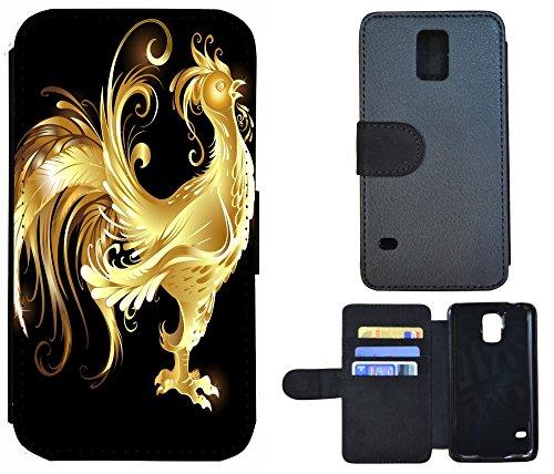 Schutz Hülle Flip Cover Handy Tasche Etui Case für (Apple iPhone 5 / 5s, 1035 Surfer Welle) 1037 Hahn Gold
